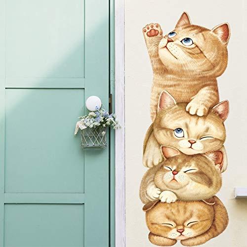 Extraíble lindo gato pirámide juego pegatinas de pared para dormitorio sala de estar decoración de pared de habitación de niños vinilo animales calcomanías de pared