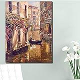 wZUN Clásico Paisaje de la Ciudad de Venecia Pintura en Lienzo impresión Digital Cartel de Paisaje y Pintura Mural Imagen 60X90 Sin Marco