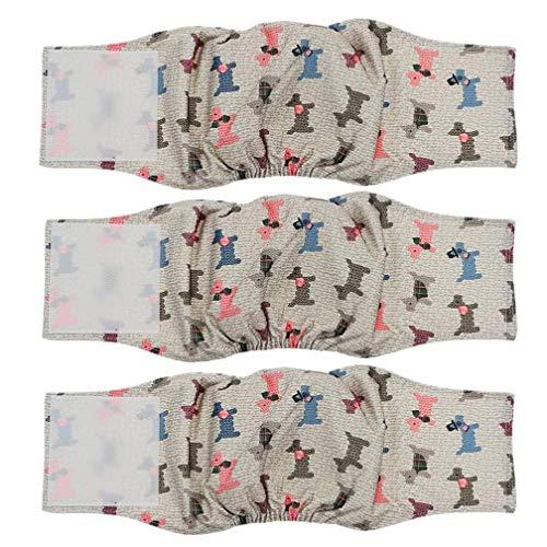 Amaliy Wiederverwendbare Hundewindeln für Rüde (3 Stück) - Haltbare & Waschbare Windeln für Hunde, Welpen, Haustiere (L(Taille: 45-54cm))