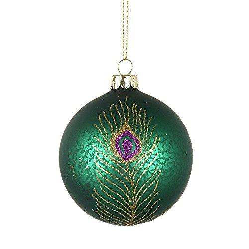 Bola redonda de cristal para árbol de Navidad con diseño de plumas de pavo real iridiscentes de color verde jade (8 cm)