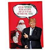 12 Boxed 'Trump Meetings with Santa' Christmas Cards with Envelopes 4.63 x 6.75 inch, Santa Claus and the President Season's Greetings Cards, Funny Humorous Cards for the Holidays C4249XSG-B12