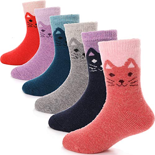 Kids Wool Boot Socks 6 Pairs Toddlers Boys Girls Cabin Thick Snow Warm Child Winter Thermal Crew Cat Socks(Cat,8-12Y)