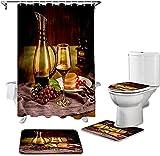 Badmat Set 4 Stuk, Badkamer Douchegordijn En Tapijt Sets Rode Wijn Dessert WC Deksel Cover Badmat Waterdichte Douchegordijnen Set