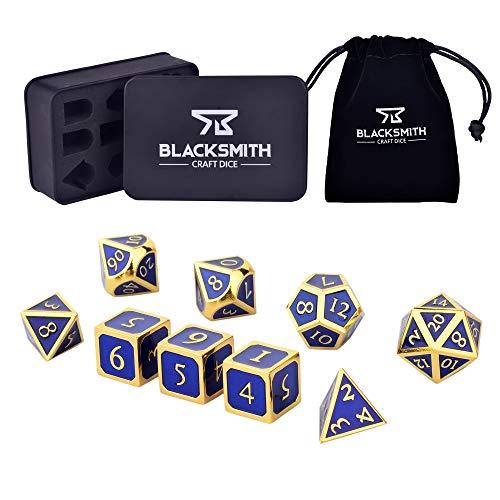 HEIMDALLR Metal D&D Dice Set 9 pcs - 2 Extra D6s, Metal Dice Box & Velvet Dice Bag; Metal DND Dice Set D&D (Dungeons and Dragons Dice Set) w D20 Dice - Blacksmith Craft Dice (Lapis Lazuli)