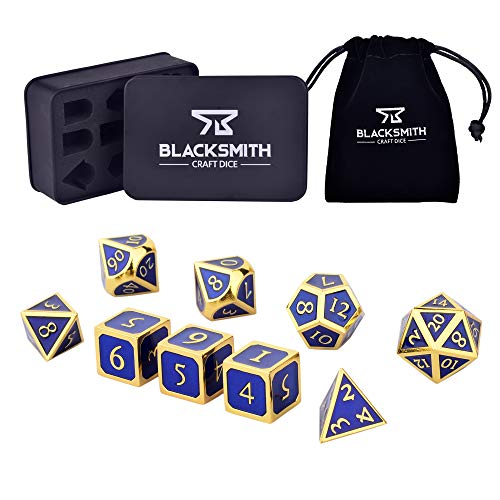 Blacksmith Craft Dice DND Dice Set 9 PCS (2 Extra D6s) - Metal Dungeons and Dragons Polyhedral Dice Set with D&D Dice Box & Bag for RPG Gaming - Includes D20 - Blacksmith Craft Dice (Lapis Lazuli)