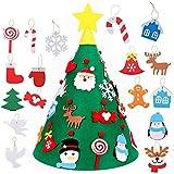 Feltro Albero Natale Fai da Te 3D Albero di Natale con 17pcs Toddler Amichevole Albero di Natale Sospeso Ornamenti per Bambini Regali di Natale Natale Casa Decorazioni per i Bambini