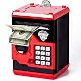 Kids Piggy Bank Automatic Password Electric Piggy Banks Cash & Coins Savings ATM Bank Machine Real Money Toy Safe for 3-11 Year Old Girls Boys Birthday Gifts Red…