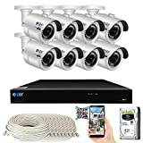 GW Security Smart AI 8 Channel H.265 PoE NVR Ultra-HD 4K (3840x2160) Security Camera System with 8 x 4K (8MP) 2160P Face Recognition/Human/Vehicle Detection Outdoor Indoor Surveillance IP Camera