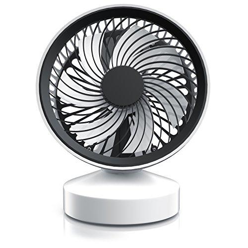 CSL - USB Ventilador con pie - Ventilador de Mesa USB Desk Fan Ventilador de Escritorio - máx. 45 dB A - Interruptor de Encendido Apagado - Inclinable Aprox. 25 Grado Ajustable - Blanco Negro