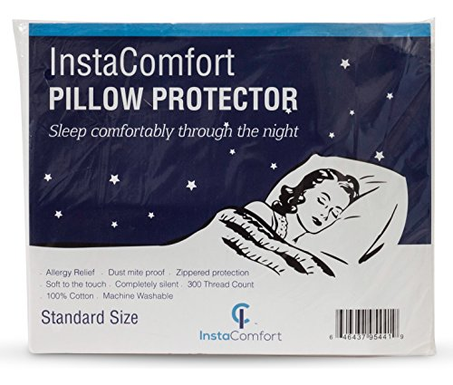InstaComfort Allergy Pillow Covers Super Soft 100% Cotton Cases Hypoallergenic Pillowcase  Completely Silent Dust Mite Proof Protector  Standard Size Zippered Cover