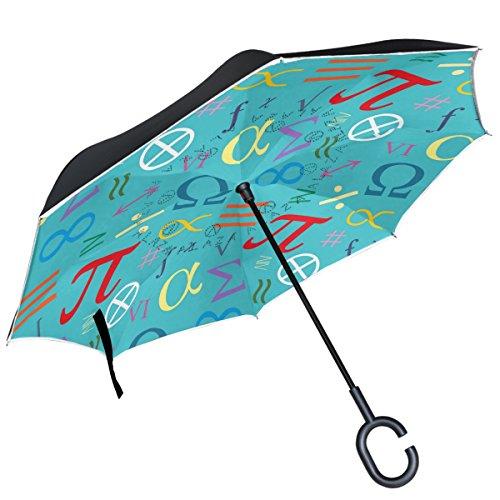 Alaza Mathematische Symbole griechischen Alphabets seitenverkehrt Regenschirm Double Layer winddicht Rückseite Regenschirm