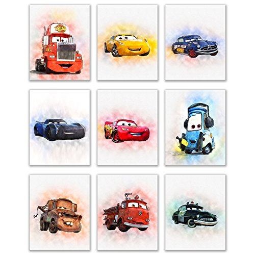 Cars Movie Poster Prints - Set of 9 (8 inches x 10 inches) Watercolor Photos - Lightning McQueen Tow Mater Doc Hudson Jackson Storm Cruz Ramirez