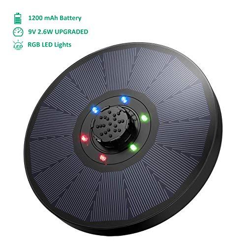 OMORC Solarbrunnen mit LED, 9V 2,6W Solar Teichpumpe mit 1200mAh Batterieunterstützung, Solar Fontäne Pumpe mit 4-in-1-Düse Verbessert für Vogelbad, Aquarium, Teich, Gartendekoration,18 cm Durchmesser