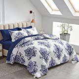 FlySheep Damask Bed in a Bag 7 Pieces King Size, Bohemian Blue Geometric on White, Microfiber Reversible Bed Comforter Set (1 Comforter, 1 Flat Sheet, 1 Fitted Sheet, 2 Pillow Shams, 2 Pillowcases)