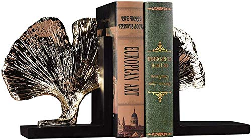 JDTBYMXX Decorative Bookends, Books Ends Set of Two,Polyresin Ginkgo Leaf Resin bookend,Finish Book Organizer Children Adults Desk Office Home Decoration Gift