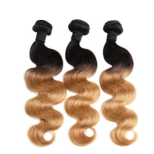 YanT HAIR Lot de 3 extensions de cheveux brésiliens vierges ondulés de qualité 8A - 45,7 cm - T1b/blond (1b/27)