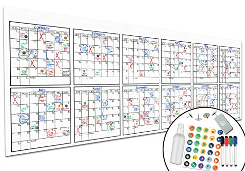 """Large Dry Erase Wall Calendar - 36"""" x 96"""" - Undated Blank 2021 Reusable Yearly Calendar - Giant Whiteboard Year Poster - Laminated Office Jumbo 12 Month Calendar"""