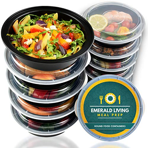 Premium Round BPA Free Meal Prep Containers. Reusable Plastic Food Containers with Lids. Stackable, Microwavable, Freezer & Dishwasher Safe Bento Lunch Box Set + EBook [680 mL] Pack of 10
