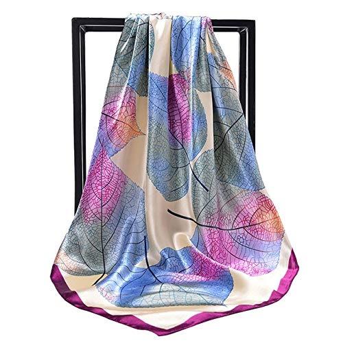 Pañuelo de Seda de Moda pañuelo de satén Plisado Bufanda Grande 90 * 90cm Pelo de Seda Cuadrado/pañuelo para la Cabeza pañuelo para Mujer - C091,90cm X 90cm