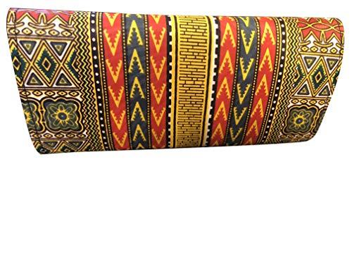 Yellow - Blue African Print Dashiki Clutch, Black Clutch, African Purse Ankara Dashiki Clutch, African Bag
