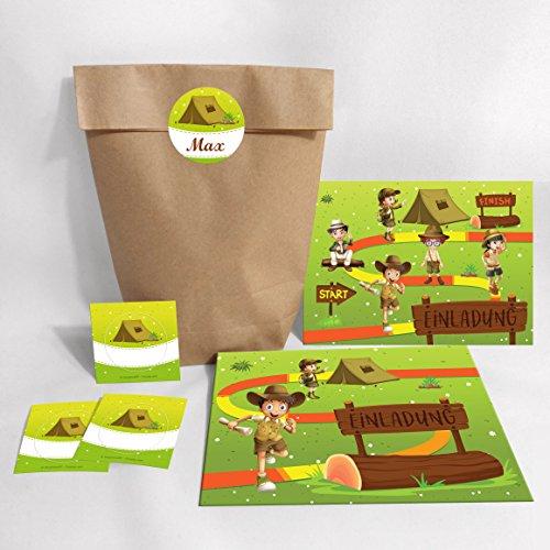 JuNa-Experten 12Tarjetas de invitación para cumpleaños infantiles Aventura De Fiesta/schatzsuche/exterior/invitaciones de cumpleaños para niñas y niños
