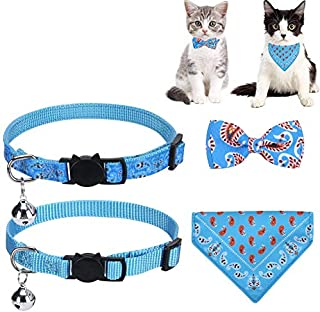 MOUISITON Cat Collar Breakaway with Bell Bronzing Printed Reflective Nylon Webbing Patterns for Cats Kitty Kitten Puppy
