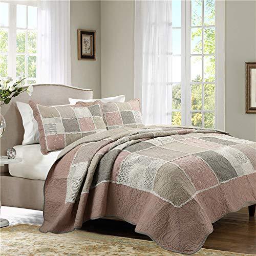 Bettueberwurf Gesteppte Tagesdecke Baumwolle Patchwork Quilt Doppelte Menschen Bettdecken Impression Bettlaken Bettwäsche 3-teiliges Set Decke 230X250CM Werfen Kissenbezüge 50X70CMX2
