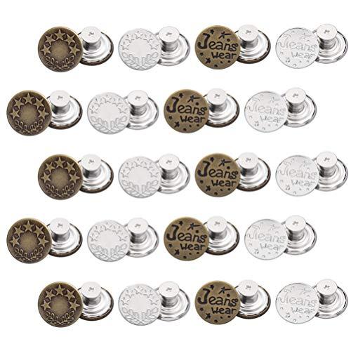 HEALLILY 40 Piezas de Vaqueros Ajustables Botón Instantáneo Botones de Jean Reparación de Cualquier Jeans Añade O Reduce Reemplazos de Cintura