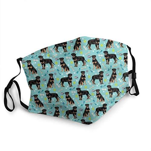Rottweiler - Mascarillas de tela azul para perros y juguetes, para nariz y boca, lavable, transpirable, reutilizable, pasamontañas multifuncional para hombres y mujeres