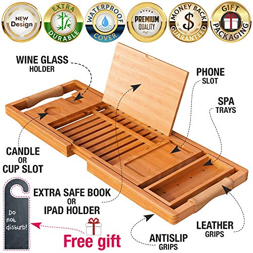 YM Lux Craft Bamboo Bathtub Caddy Tray [Durable, Non-Slip], 1-2 Adults Expandable Bathtub Tray, Beautiful Gift Box, Fits Any Tub Bath - Holds Book, Wine, Phone, Ipad, Laptop- Free Bathroom Door Hanger