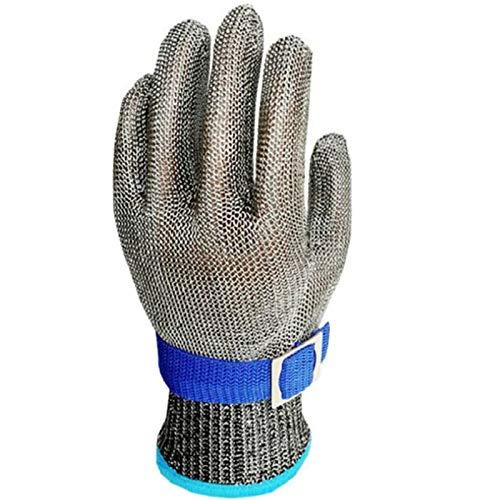 Guantes Anticorte Seguridad Corte Prueba puñalada Resistente Acero Inoxidable de Malla metálica Carnicero Guante Nivel 5(Un guante) (L)