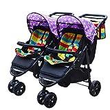 Znesd Double poussette léger, design pliable Voyage, double poussette parapluie avec 5 points Harnais, Porte-gobelet, Sun Canopy for bébé, Verrouillage pédale de frein - robuste (Color : Purple A)