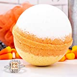 Halloween Trick or Treat! Bath Bomb and Jewelry Surprise Deluxe X Large 9 oz Bath Bombs Fizzies Made in USA, Cruelty Free! Candy Corn Size 09