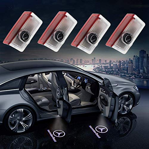 MEHIM 4 Piece Auto Door Logo Projector Car Door Lights Door Step Courtesy Light (for Mercedes-Benz) Welcome