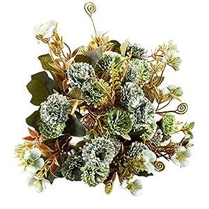 Acamifashion 1 Pc Realistic Lilac Flower Bouquet Vivid Faux Silk Floral Arrangement Crafts Wedding Indoor Party Home Decoration 3.5cm Green