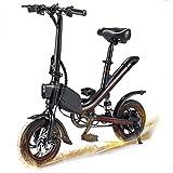 Bicicleta Eléctrica Plegable - Bicicleta Eléctrica Adultos - Motor de 350W - Iluminación LED - Velocidad máxima 25 km / h - Neumáticos de 12 pulgadas - Amortiguador central - Sillín ajustable,Negro