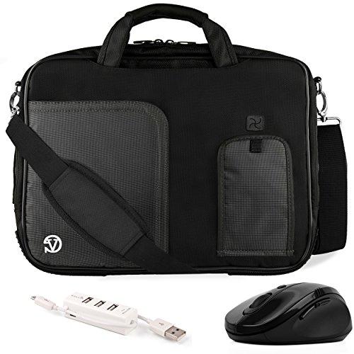 VanGoddy Pindar Jet Black Trim Messenger Bag w/USB HUB and Wireless Mouse for Fujitsu LifeBook and Stylistic Series 12.5'-13.3inch