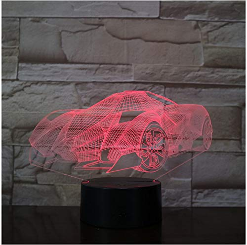 Cool Super Car Acrylic 3D Lamp 7 Color Change Night Light Baby Color Lights LED USB Desk lamp Atmosphere Night Decor lamp Without Controller