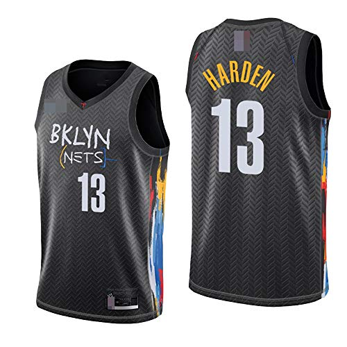LYY Jerseys De Baloncesto para Hombre, NBA Brooklyn Nets # 13 James Harden, Comfort Classic Comfort Chalecos Transpirables Camiseta Uniformes Deportivos Tops,Negro,XL(180~185CM)