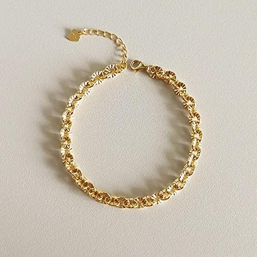 ShSnnwrl Colgante Collar Retro de Plata de Ley 925, Collar de Cadena Cruzada con Estampado de Color Dorado para Mujer, Pulsera de