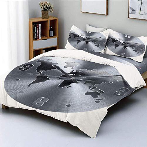 Juego de funda nórdica, un patrón de reloj plateado con un mapa del mundo que comprueba la hora, hora y minutos Juego de ropa de cama decorativa de 3 piezas con 2 fundas de almohada, plateado, el mejo