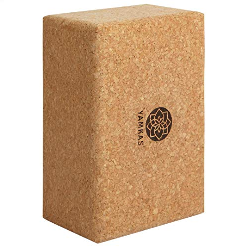 Yamkas Bloque Yoga Corcho | Yoga Block Cork Ecológica | Bloques para Ejercicio y Pilates | Ladrillo Yoga Natural Made in Portugal | 227x120x75mm
