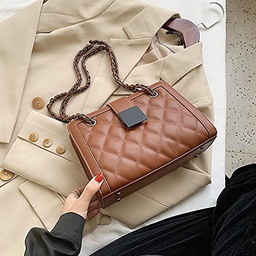FWJSDPZ Small Black PU Leather Crossbody Bag for Women 2021 Winter Branded Chain Designer Shoulder Handbags Women's Trend Hand Bag (Color : Brown, Size : 24cmx17cmx10cm)