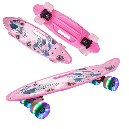 Geelife 24' Complete Mini Cruiser Skateboard for Beginners Youths Teens Girls Boys with LED Wheels (Spring)