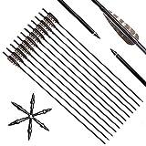 Flechas de carbono con arco de 32 pulgadas Flechas de caza con plumas de 4 pulgadas Freetching...