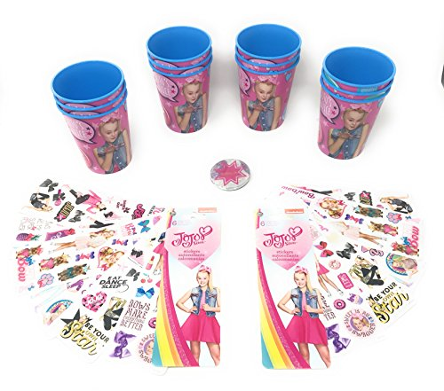 Jojo Siwa Party Favors Pack for 12 - Includes 12 Plastic Favor Cups, 12 Sheets of Jojo Siwa Stickers & One Special Birthday Star Button