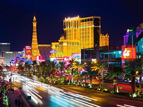 1art1 Las Vegas - Hollywood, Paris Und Eiffelturm In Las Vegas, 4-Teilig Fototapete Poster-Tapete 360 x 255 cm