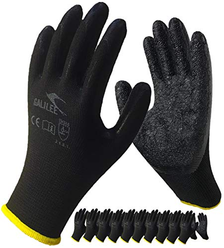 Coated Work Gloves for Men and Women, 10-Pair Pack, Safety Gloves for Working, Gardening, Utility, Rugged Latex Rubber Firm Grip Coating ( Medium, Black )