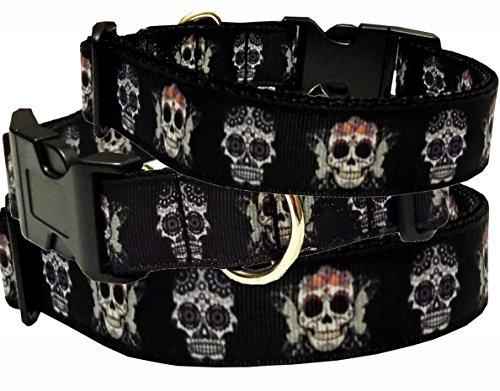 Hundehalsband Skull Totenkopf Nylon Halsung Band Halsband Schnalle schwarz 38 - 53 cm x 2,5 cm