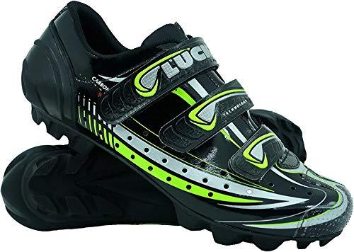 LUCK Scarpe da Ciclismo Master, con Suola di Carbonio E Tripla Striscia di Velcro per Una Fissaggio, Nero. (44 EU)